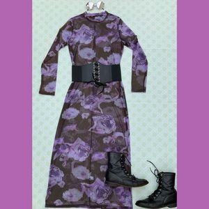 Vintage 90s Y2K sheer maxi dress photo print rose
